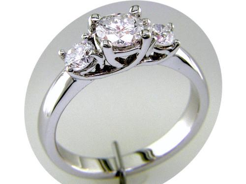 Custom design (3) RB diamond trellis prong semi mtg engagement ring