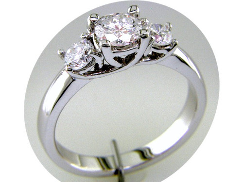 Custom design (3) RB diamond trellis prong semi mtg engagement ring