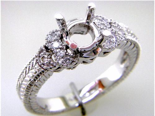 Custom design diamond engraved band semi mtg engagement ring