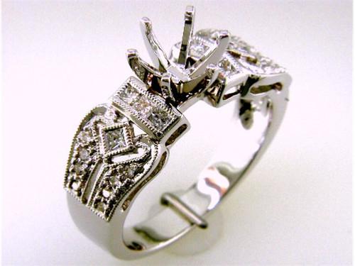 Custom design diamond Vintage style semi mtg engagement ring #2