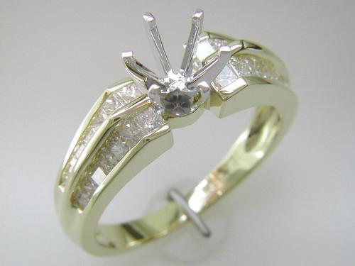 Custom design double row channel set PC diamond semi mtg engagement ring