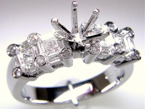 Custom design PC, SB, RB diamond semi mtg engagement ring