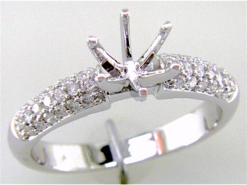 Custom design pave' diamond semi mtg dome band engagement ring