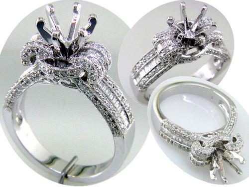 Custom design baguette/round diamond semi mtg Vintage engagement ring