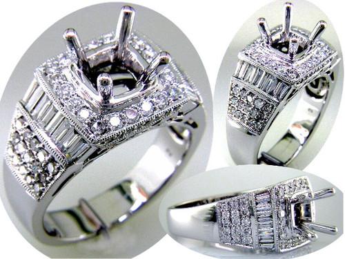 Custom design baguette/round diamond square top semi mtg engagement ring
