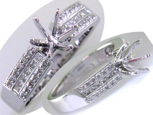 Custom design triple row PC/RB diamond semi mtg engagement ring