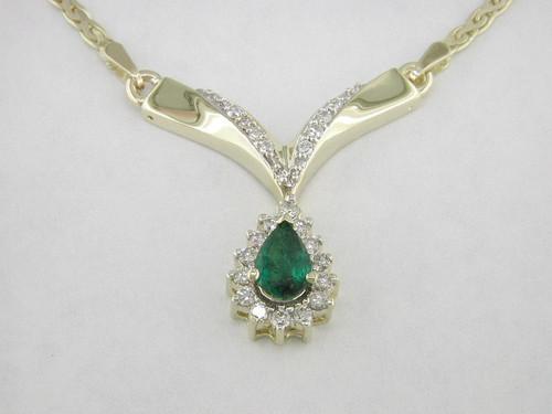"Custom design halo ps emerald drop diamond ""V"" necklace"