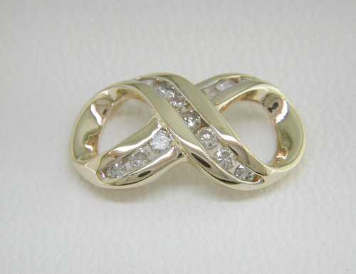 Custom design channel set diamond infinity slide pendant