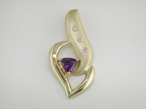Custom design satin/polished diamond/trilliant amethyst pendant