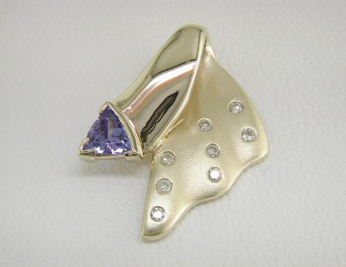 Custom design satin/polished diamond/trilliant tanzanite pendant