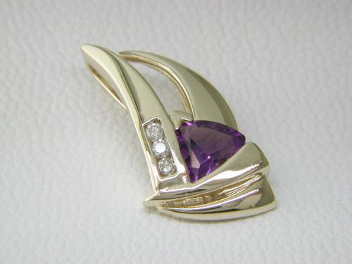 Custom design diamond/trilliant amethyst pendant