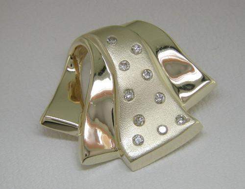 Custom design ribbon motif satin and polished diamond slide pendant