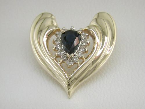 Custom design diamond halo PS sapphire heart shape slide pendant