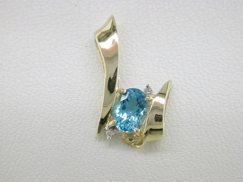 Custom design (2)diamond/oval blue topaz pendant