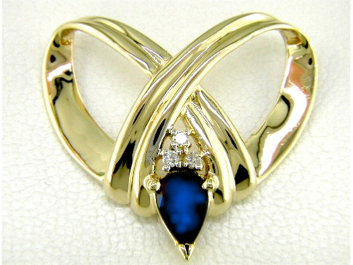 "Custom design ""X"" heart diamond/PS sapphire slide pendant"