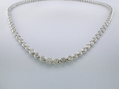 Custom design graduated bezel set diamond Monaco necklace