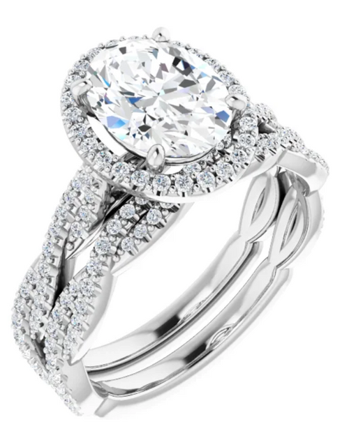 Oval halo style ring