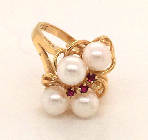 14 karat cluster cultured pearl and ruby ring