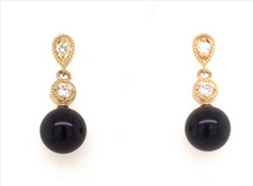 14kyg diamond/black pearl earrings