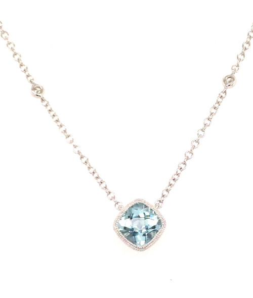 14kwg aqua necklace with 2 diamonds on the chain
