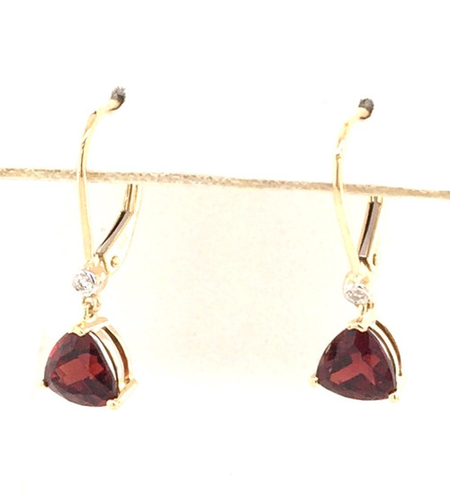14kyg garnet and diamond dangle earrings