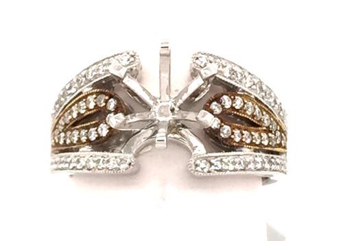 14 karat two tone 0.4cttw diamond semi mounting