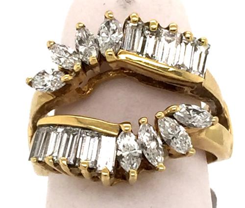 Baguette cut diamond marquis cut diamond wrap ring