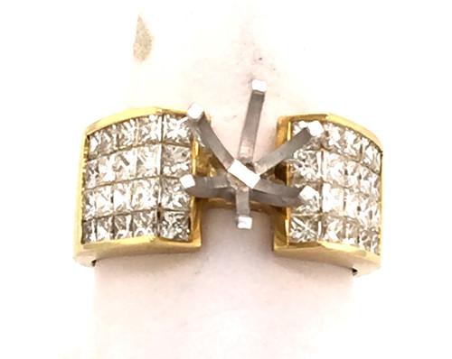 4 row invisible set princess cut diamond ring