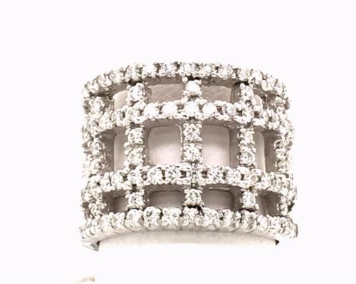 14 karat white gold open trellis style diamond band