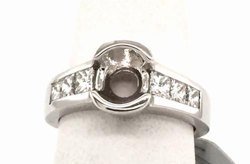 14 karat white gold channel set princess cut diamond semi-mount