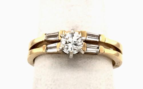14kyg wedding set w/ rb diamond and (4) TB diamonds
