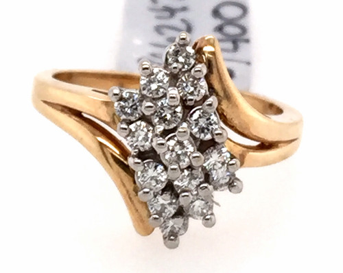14ktt diamond waterfall style cluster ring