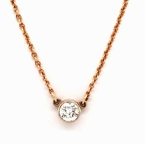 14ktt bezel set 0.56ct diamond necklace