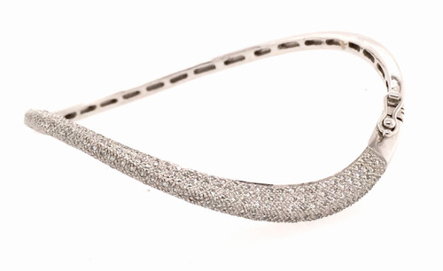 14kwg micro pave' wave diamond bangle bracelet