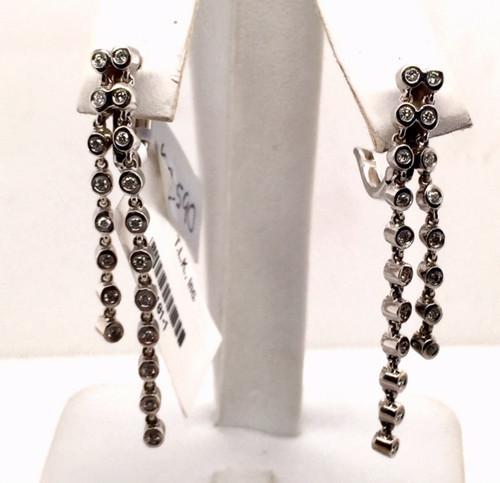 14kwg bezel set diamond dangle earrings