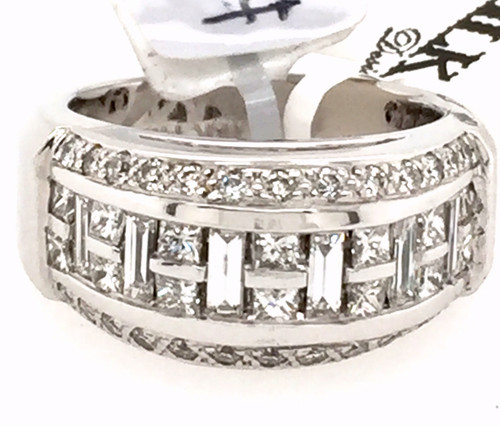 14kwg domed band w/SB, PC and RB diamonds