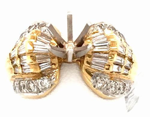 18kyg baguette and rb diamond semi mount ring