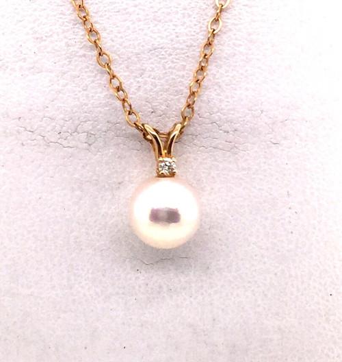 14kyg pearl/diamond pendant