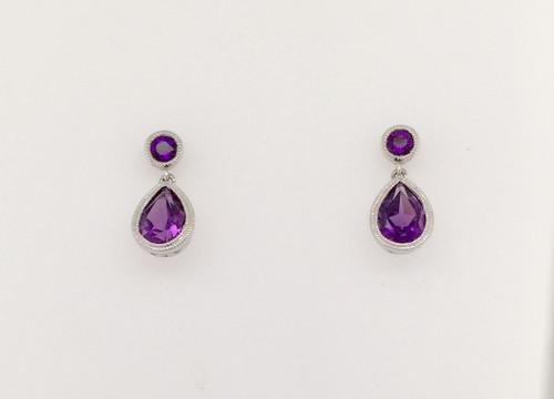 14kwg (4) Amethyst drop earrings