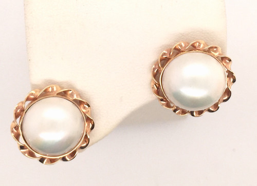 14kyg twist framed mabe' pearl earrings