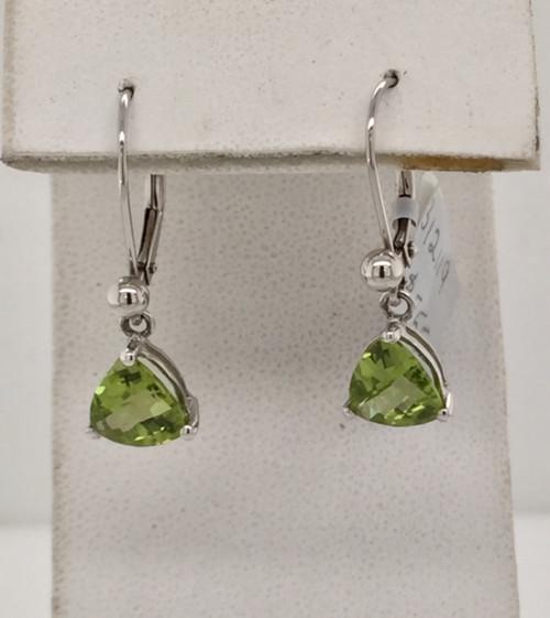 14kwg dangle triangular Peridot earrings