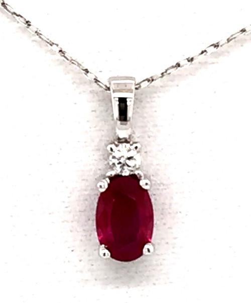 14kyg ruby and diamond pendant w/chain