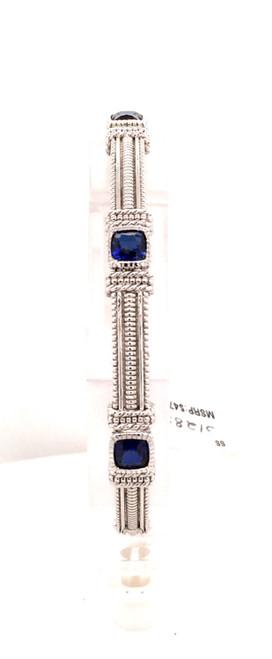 JR sterling bangle bracelet w/ blue stones