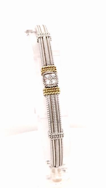 JR Sterling bangle bracelet/18kyg bars and (4)white sapphires