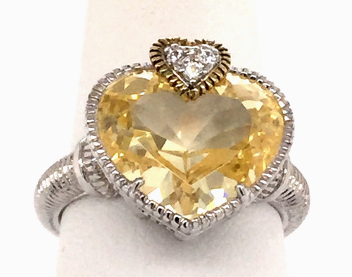 JR Sterling ring HS canary crystal/white sapphires