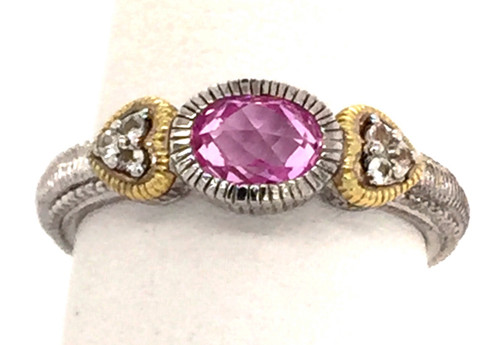 JR Sterling/18ky ring w/pink crystal and white sapphires