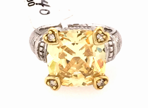 JR SS/18y ring w/canary crystal and diamonds