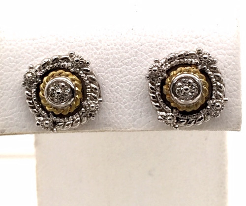 JR SS/18ky studs w/ diamonds 0.05cttw