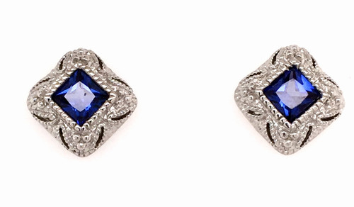 JR SS square blue synthetic corundum studs
