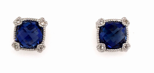 JR SS cushion cut blue synthetic corundum studs